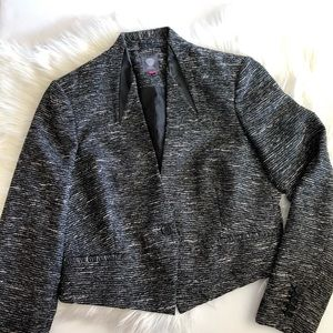 Vince Camuto tweed blazer with faux leather detail